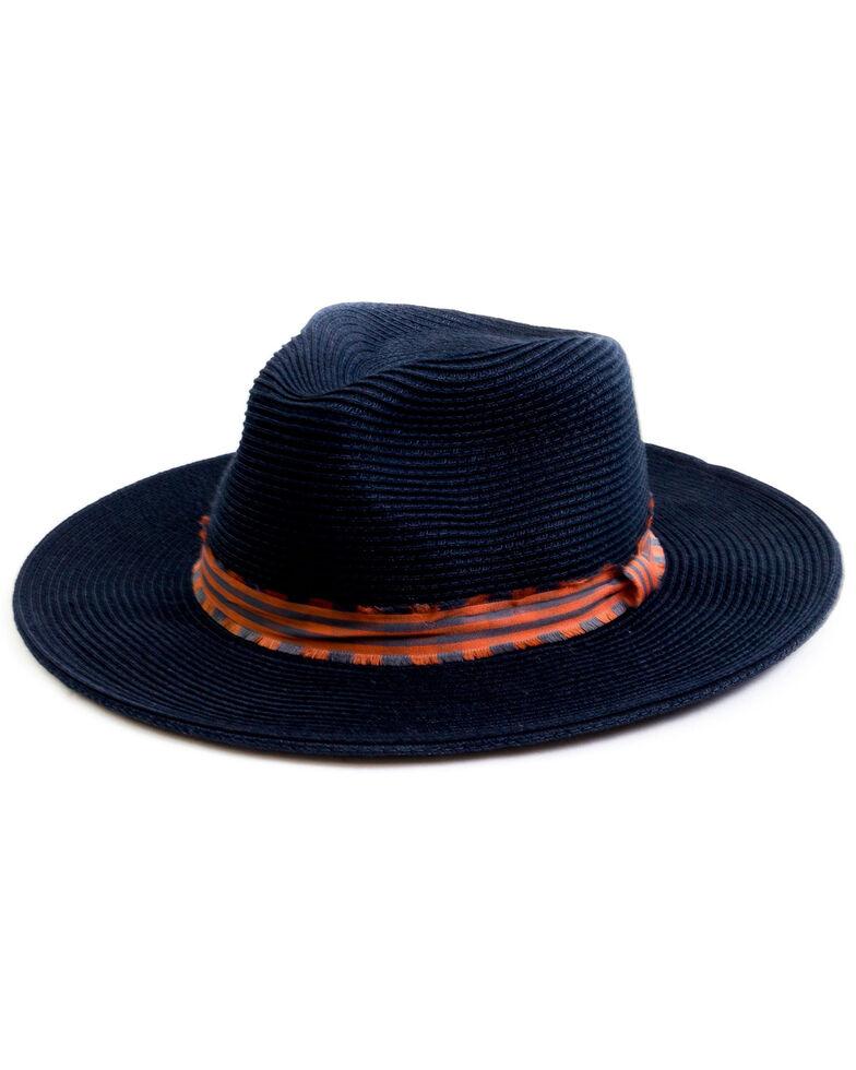 San Diego Hat Company Women's Poly Braid Frayed Edge Fedora Hat, Navy, hi-res