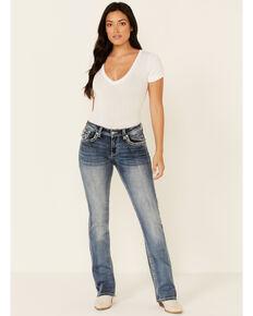 Grace in LA Women's Fleur De Lis Bootcut Jeans, Blue, hi-res