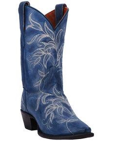 65a4355701fa6 Dan Post Women's Nora Blue Leaf Stitch Boots - Snip Toe
