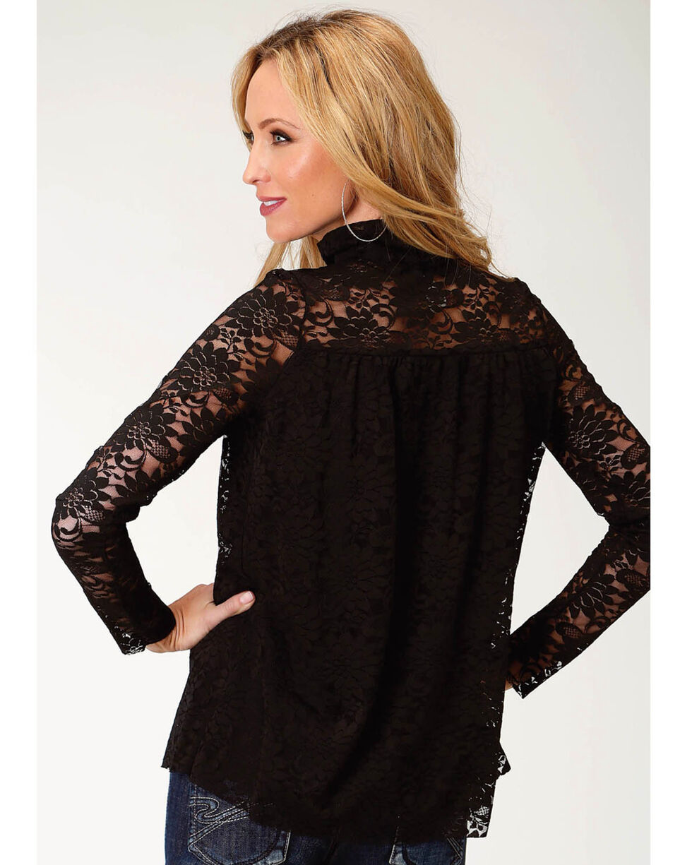 Roper Women's Black Lace Mock Neck Top, Black, hi-res