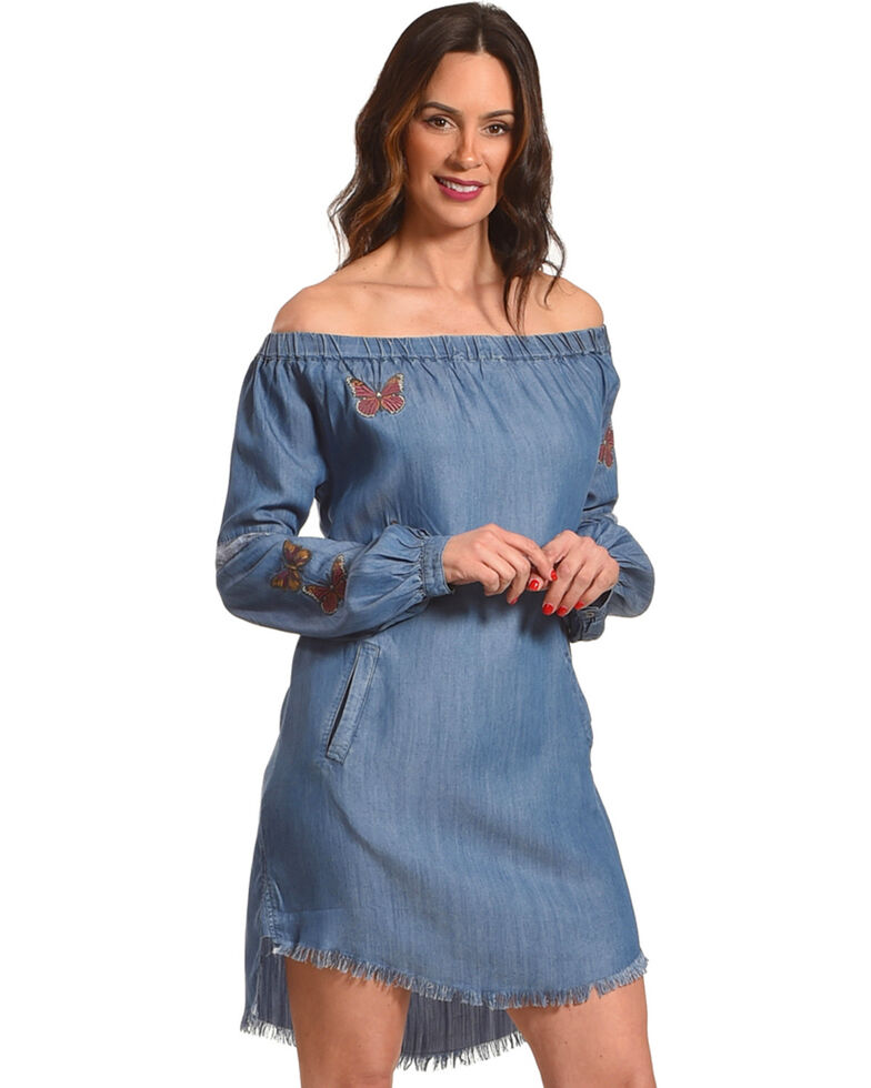 aaac864583bd Billy T Women s Blue Off The Shoulder Butterfly Dress - Country ...