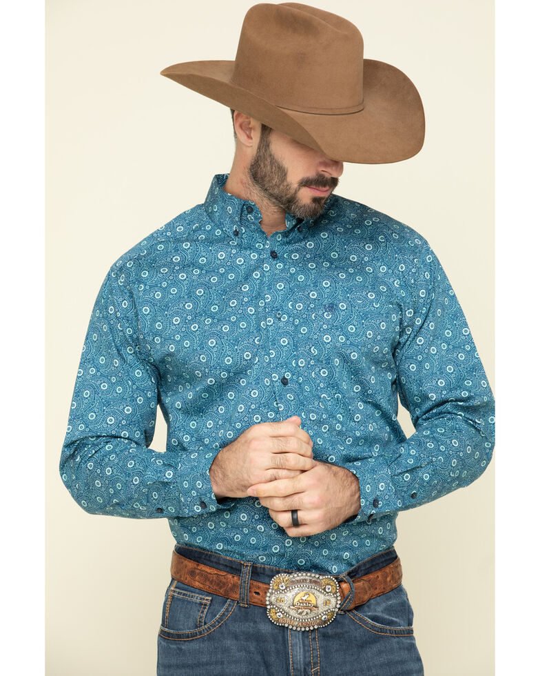 Ariat Men's Ridgecrest Paisley Print Long Sleeve Western Shirt - Big , Multi, hi-res
