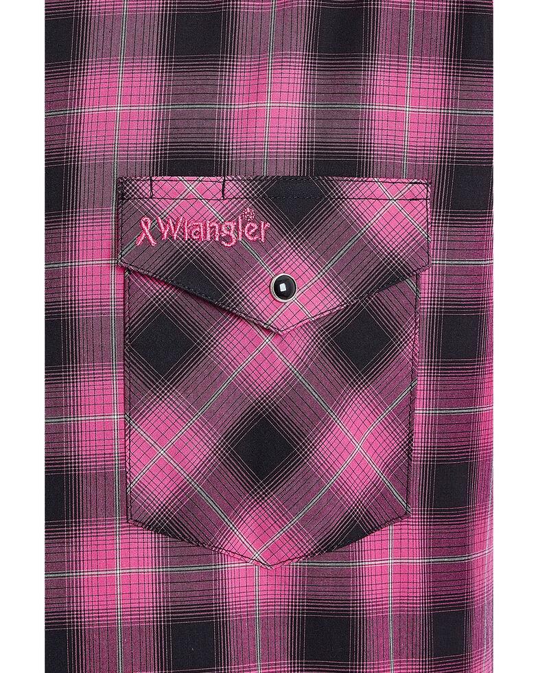 Wrangler Men's Tough Enough To Wear Pink Large Plaid Long Sleeve Western Shirt , Bright Pink, hi-res