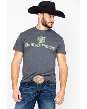 Smith & Wesson Men's Outlined Logo Tee , Charcoal, hi-res