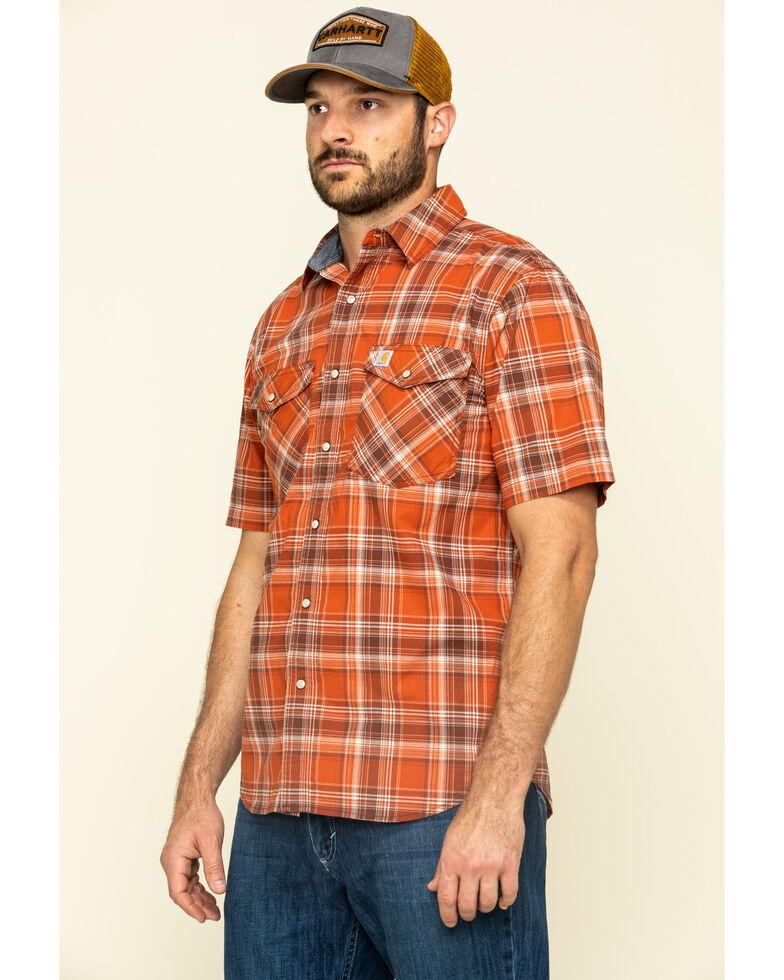 Carhartt Men's Harvest Orange Rugged Flex Bozeman Plaid Short Sleeve Work Shirt , Orange, hi-res