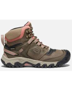 Keen Women's Timberwolf Brick Dust Waterproof Ridge Flex Hiking Boot , Brown, hi-res