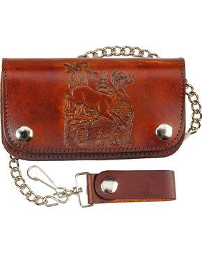 Western Express Men's Brown Deer Leather Biker Wallet , Brown, hi-res