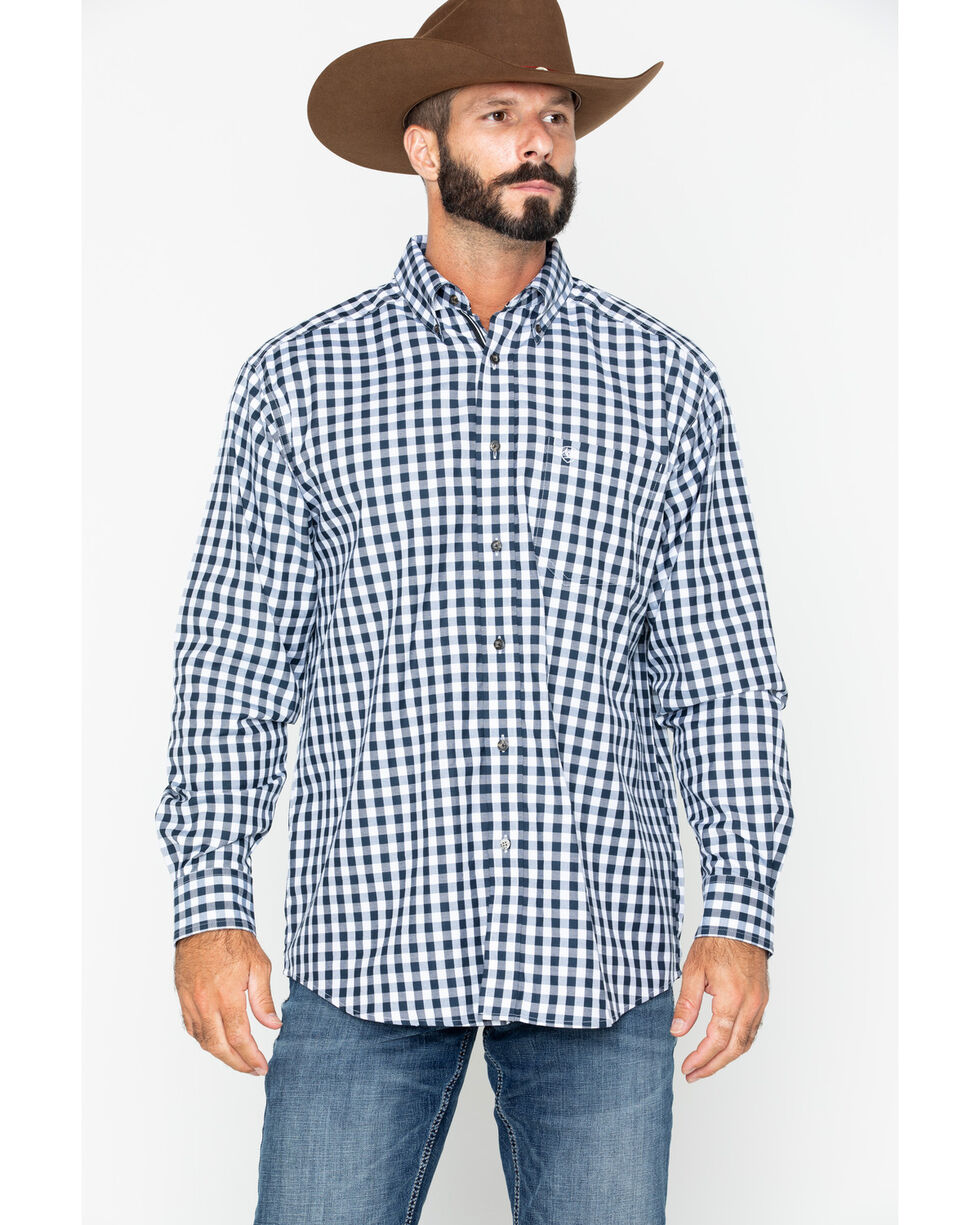 Ariat Men's Bantos Small Plaid Long Sleeve Western Shirt , White, hi-res