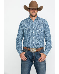Wrangler Retro Men's Blue Paisley Print Long Sleeve Western Shirt , Blue, hi-res