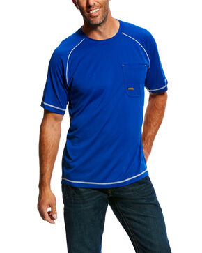 Ariat Men's Royal Rebar Sunstopper Short Sleeve Work Shirt , Blue, hi-res