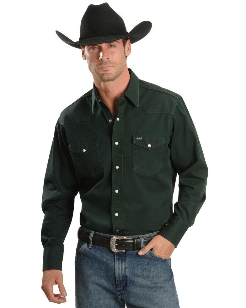 Wrangler Men's Solid Cowboy Cut Firm Finish Long Sleeve Work Shirt, Forest Green, hi-res