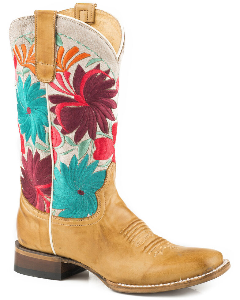 Roper Women's Fiesta Floral Embroidered Cowgirl Boots - Square Toe, Tan, hi-res