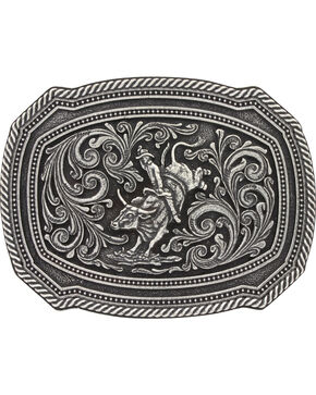 Montana Silversmith Silver Bull Rider Belt Buckle , Silver, hi-res