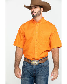 Ariat Men's Ragan Geo Print Short Sleeve Western Shirt , Orange, hi-res