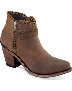 Old West Women's Brown Cross Stitch Short Western Boots - Round Toe, Brown, hi-res