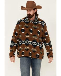 Wrangler Men's Brown Aztec Print Sherpa 1/4 Zip Pullover, Brown, hi-res