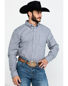 Cody James Core Men's Stonewall Small Plaid Long Sleeve Western Shirt , Grey, hi-res