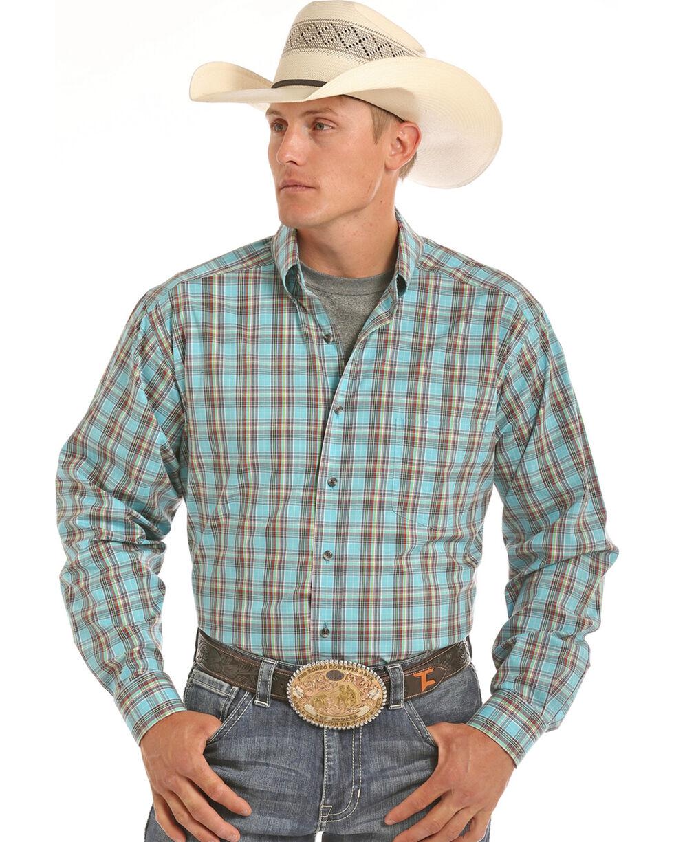 Tuf Cooper Men's Competition Fit Blue Plaid Shirt , Blue, hi-res