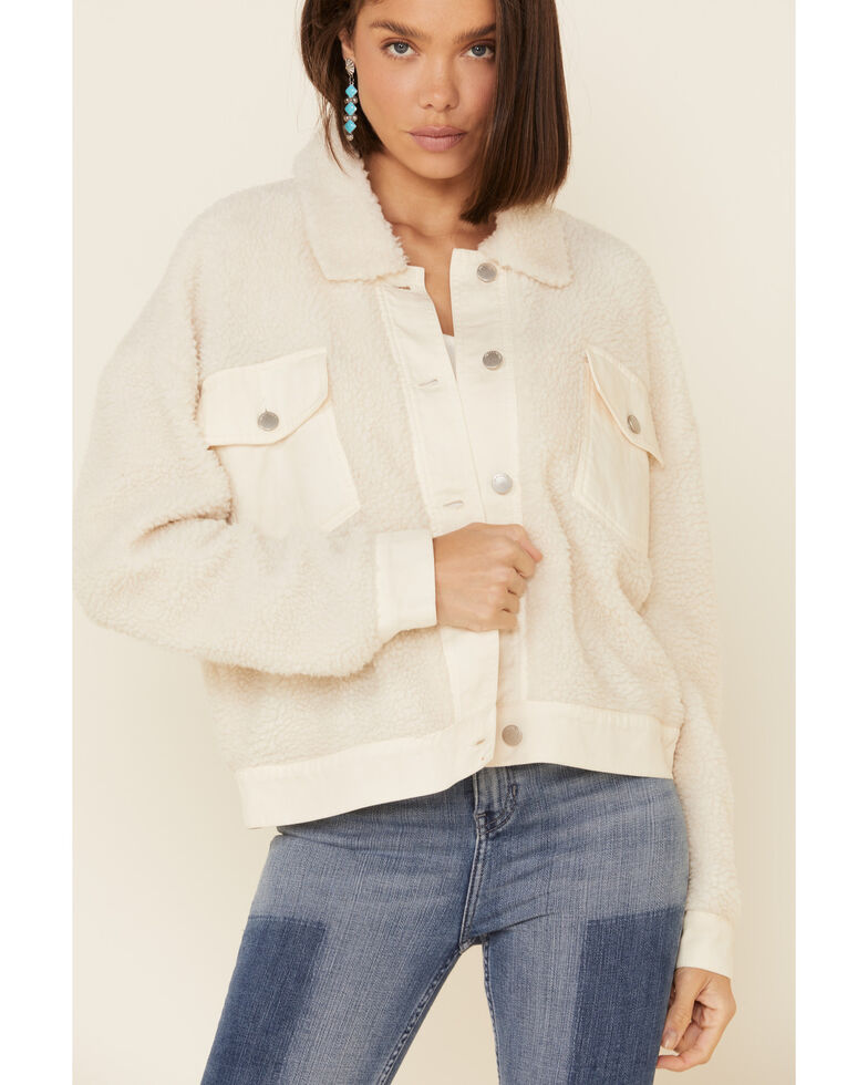 26 International Women's Cream Sherpa Trucker Jacket , Cream, hi-res