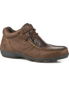Roper Women's Suzi Brown Embossed Leather Driving Moc Chukka - Moc Toe , Brown, hi-res
