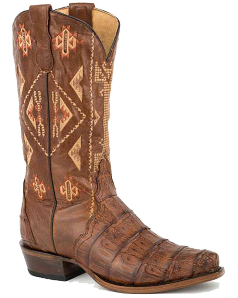 Roper Women's Tan Caiman Belly Western Boots - Snip Toe, Tan, hi-res
