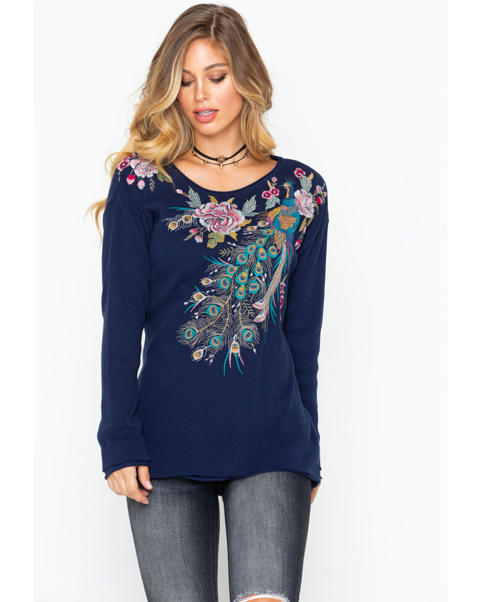 Johnny Was Women's Quito Long Sleeve Thermal Top , Indigo, hi-res