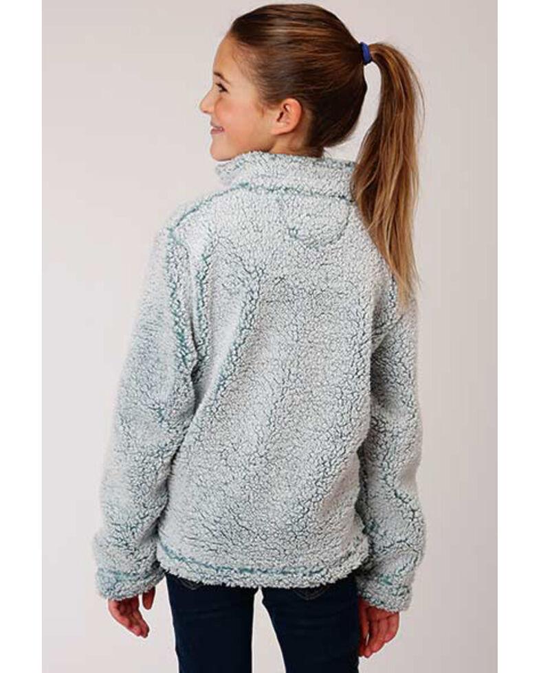 Roper Girls' Blue Fuzzy Polar Fleece 1/4 Zip Pullover , Blue, hi-res