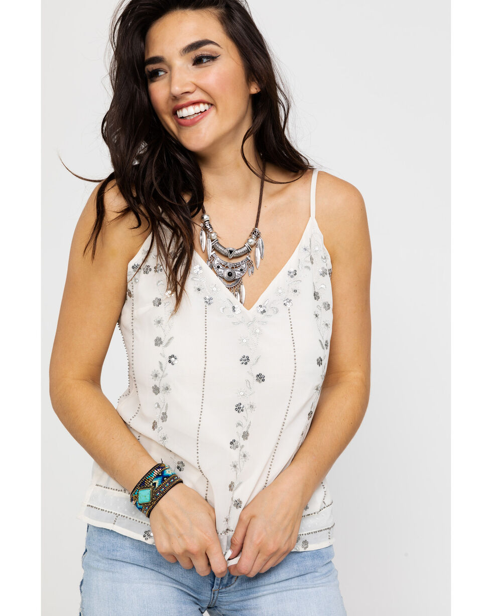 Idyllwind Women's Dancing Vines Tank , Ivory, hi-res