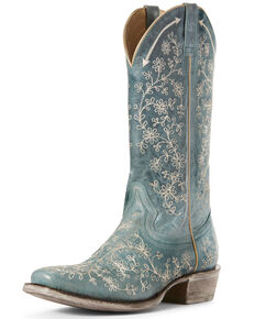 Ariat Women's Fleur Lagoon Western Boots - Square Toe, Blue, hi-res