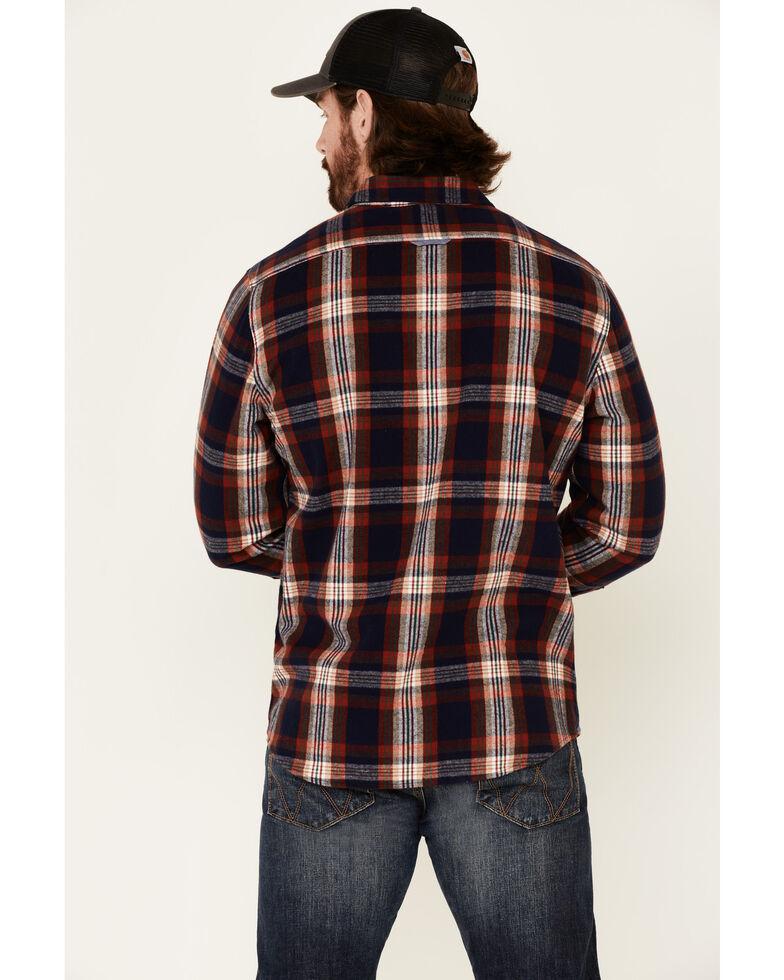 Flag & Anthem Men's Ruston Stretch Plaid Long Sleeve Western Flannel Shirt , Navy, hi-res