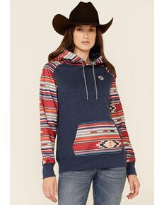 HOOey Men's Navy & Red Aztec Stripe Pullover Hoodie , Navy, hi-res