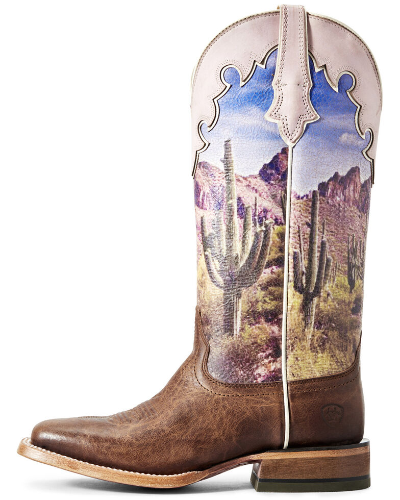 Ariat Women's Fonda Tobacco Scene Western Boots - Wide Square Toe, Brown, hi-res