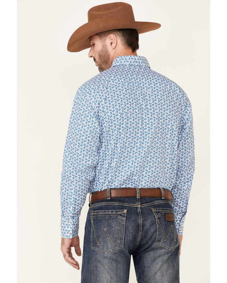 George Strait By Wrangler Men's Blue Floral Troubadour Long Sleeve Snap Western Shirt - Tall, Blue, hi-res