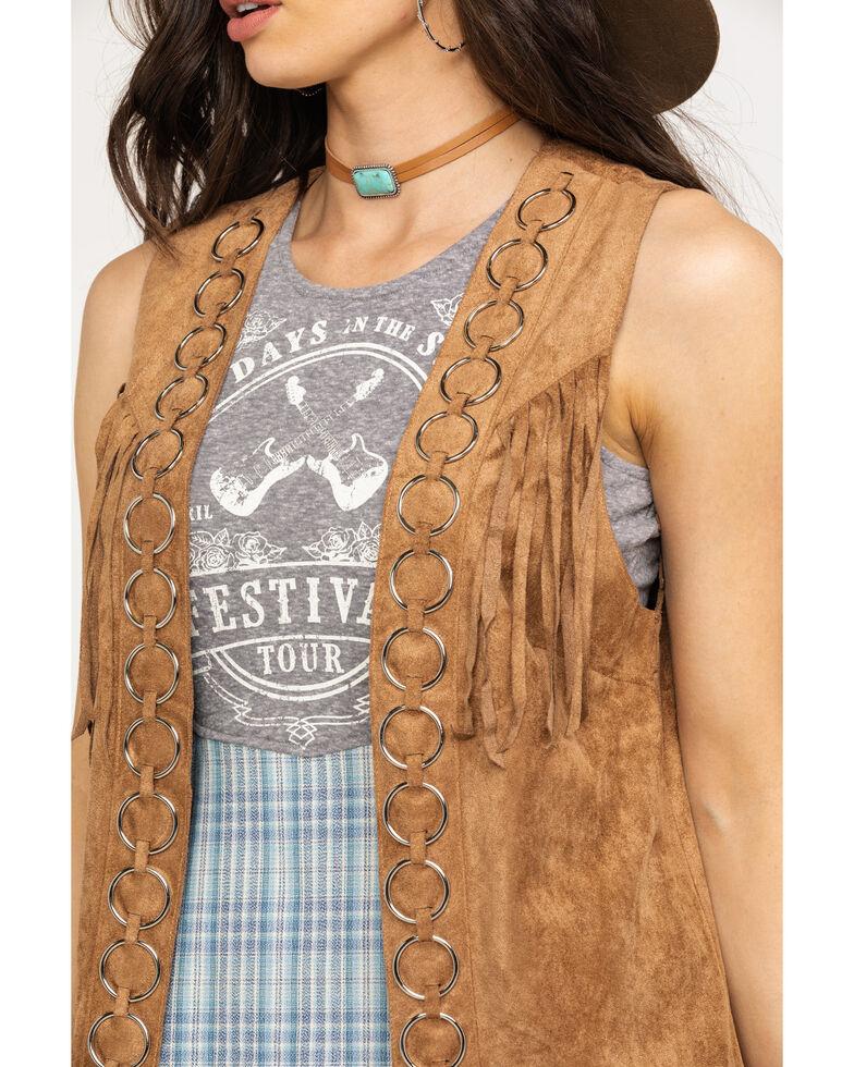 Vocal Women's Metal Ring Fringe Vest, Camel, hi-res