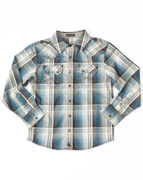 Cody James Toddler Boys' Maderas Large Plaid Long Sleeve Western Shirt , Blue, hi-res