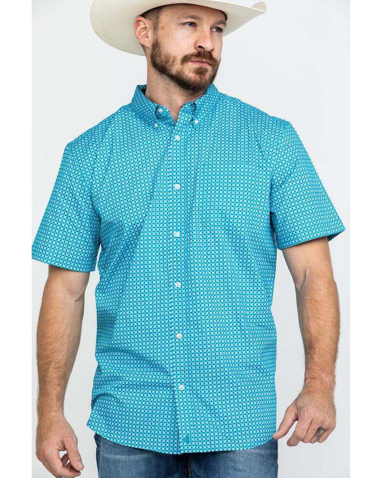 Cody James Core Men's Diamond Field Geo Print Short Sleeve Western Shirt, Turquoise, hi-res