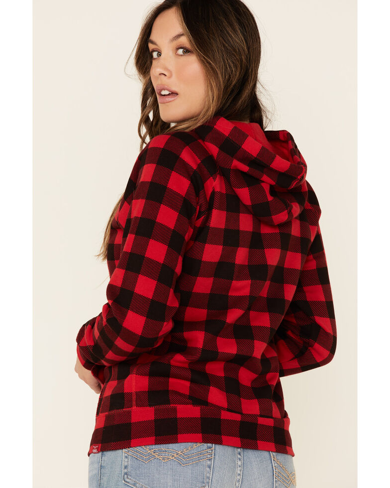 Kimes Ranch Women's Cabin Fever Flannel Logo Hooded Sweatshirt , Red, hi-res