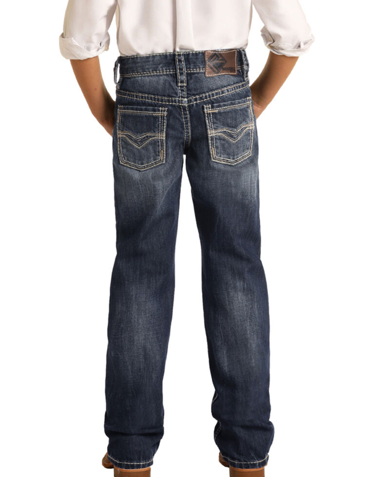 Rock & Roll Denim Boys' Dark Vintage Reflex Stretch Regular Bootcut Jeans , Blue, hi-res
