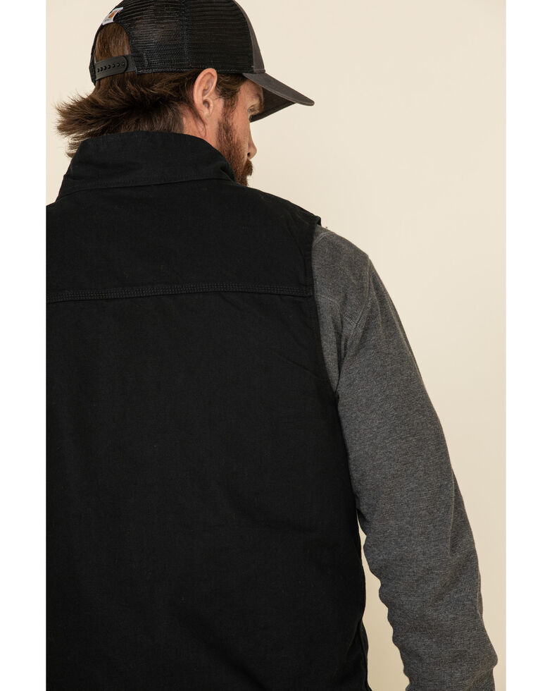 Carhartt Men's Black Washed Duck Sherpa Lined Mock Neck Work Vest - Tall , Black, hi-res