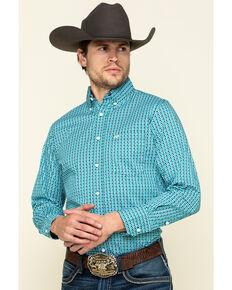 Wrangler 20X Men's Competition Teal Circle Geo Print Long Sleeve Western Shirt , Teal, hi-res