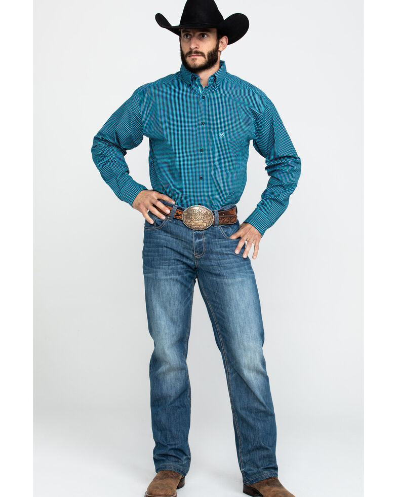 Ariat Men's Theo Small Plaid Long Sleeve Western Shirt - Tall , Blue, hi-res