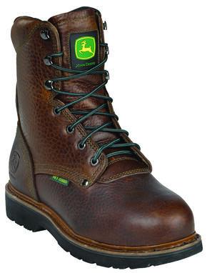 John Deere Men's Internal Met Guard Lace-Up Work Boots - Steel Toe, Brown, hi-res