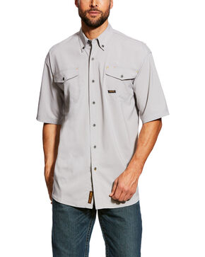 Ariat Men's Alloy Rebar Made Tough Vent Short Sleeve Work Shirt , Grey, hi-res