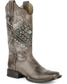 Roper Women's Native Western Boots - Square Toe , Brown, hi-res