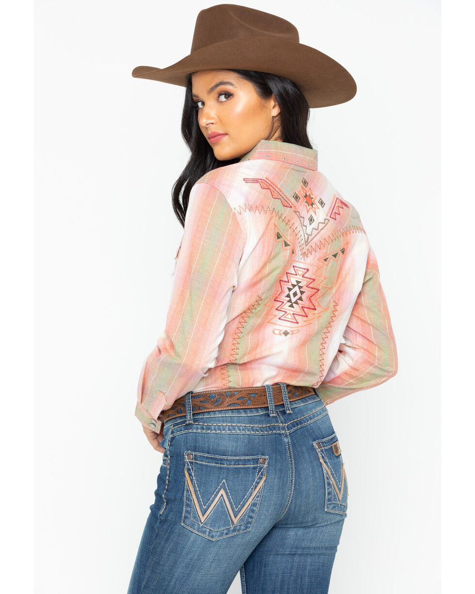Wrangler Women's Vintage Whipstitch Snap Long Sleeve Western Shirt, Blush, hi-res
