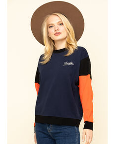 Wrangler Modern Women's Navy Contrast Retro Sweatshirt, Navy, hi-res