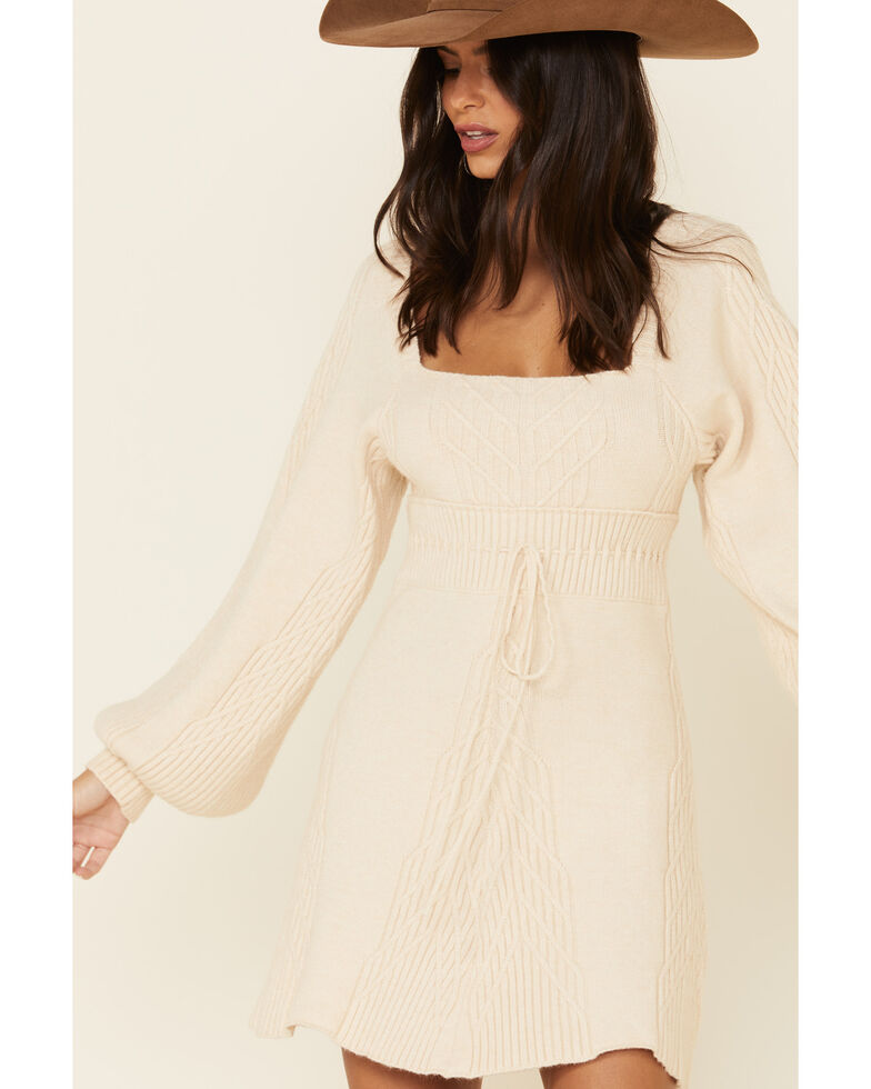 Free People Women's Emmaline Mini Sweater Dress, Ivory, hi-res