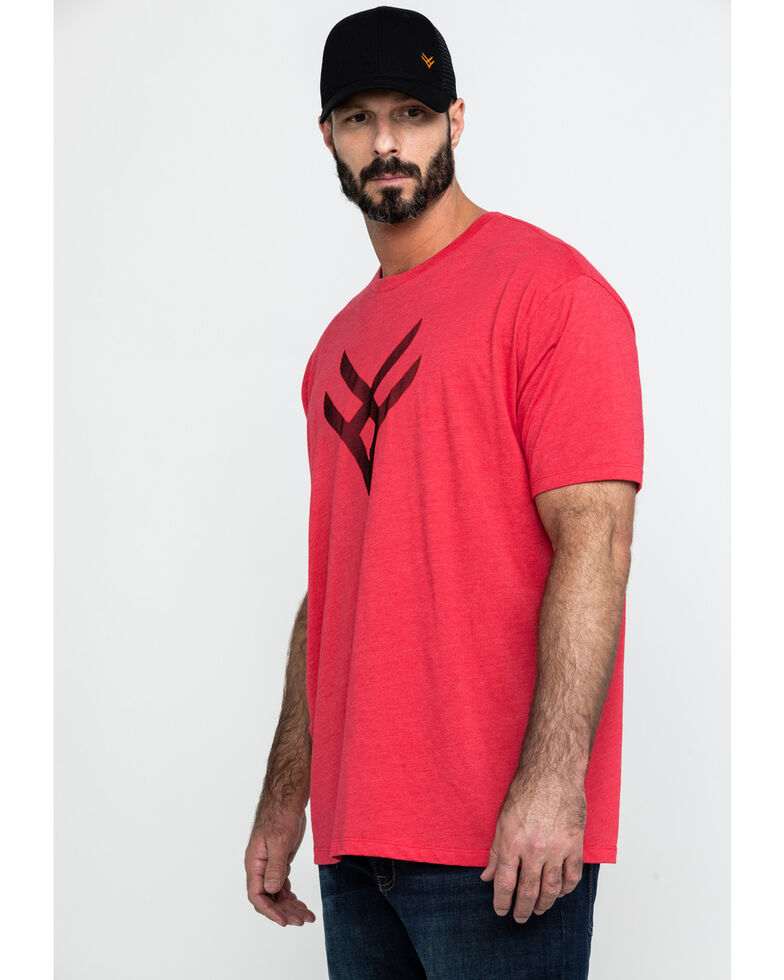 Hawx Men's Red Logo Graphic Work T-Shirt , Heather Red, hi-res