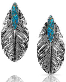 Montana Silversmiths Women's Santa Fe Ruffled Feather Turquoise Earrings, Silver, hi-res