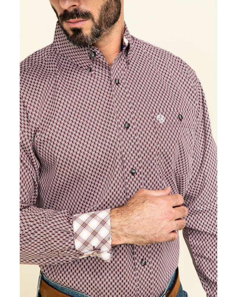 George Strait by Wrangler Burgundy Small Geo Print Long Sleeve Western Shirt - Big , Burgundy, hi-res